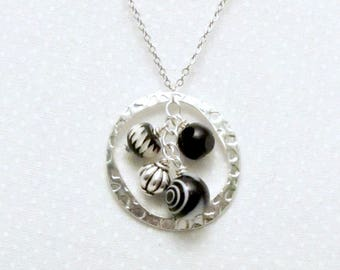 Black and White High Contrast Necklace, Circle Charm, Eternity, Friendship Necklace, Hipster Jewelry, Boho Chic