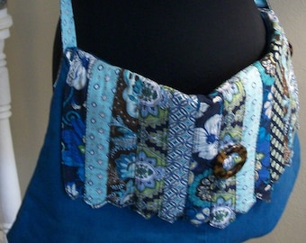 Teal Paisley Print Denim Tote BOHO Belt Hippie Festival Cross Body Oversized Bag