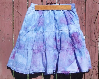 Purple & Blue Little Girls Skirt - Ice Dyed with lace - Country cowgirl Boho clothing - Large 10/12