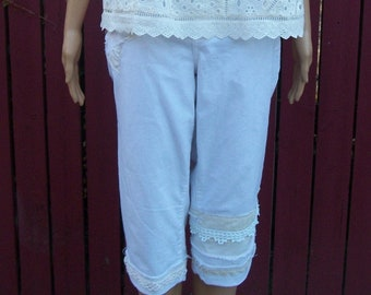 White BOHO Patchwork Capri Jeans Hand-Stitched Denim Gypsy Summer Clothing-Size 14