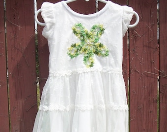 White Summer Flowergirl Dress with Green Vintage Doily and Lace-Little Girls SIZE: 3T