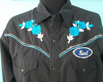 Upcycled Vintage Black Rodeo Shirt with Roses & Sparkle BUD Rodeo Cowgirl Urban Cowboy TOMBOY Country Girl festival Clothing Size: Large