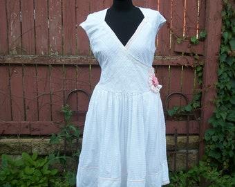 BOHO White Summer Dress - White & Blush Pink Wedding Dress  -Cowgirl Chic - Gypsy Clothing - Size 16