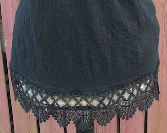 Black Lace Extender Tank Top - Layering Tank - Gypsy BOHO Festival Clothing - Size Medium