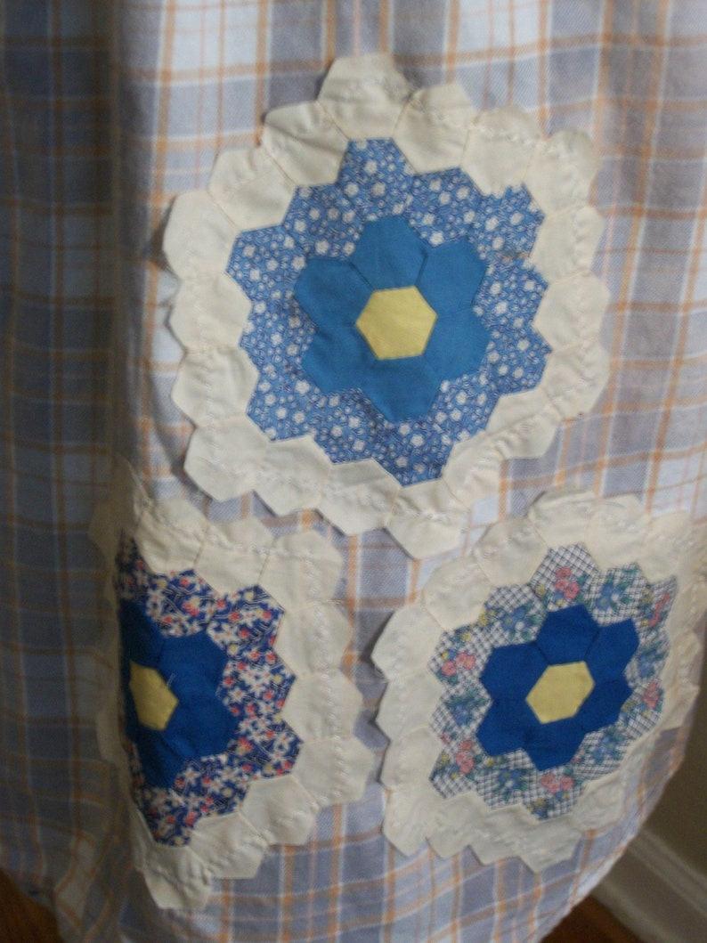 Blue Plaid Bleached Flannel Shirt-Vintage Quilt Squares-DREAM-Altered Country Girl Festival Clothing-Size Large