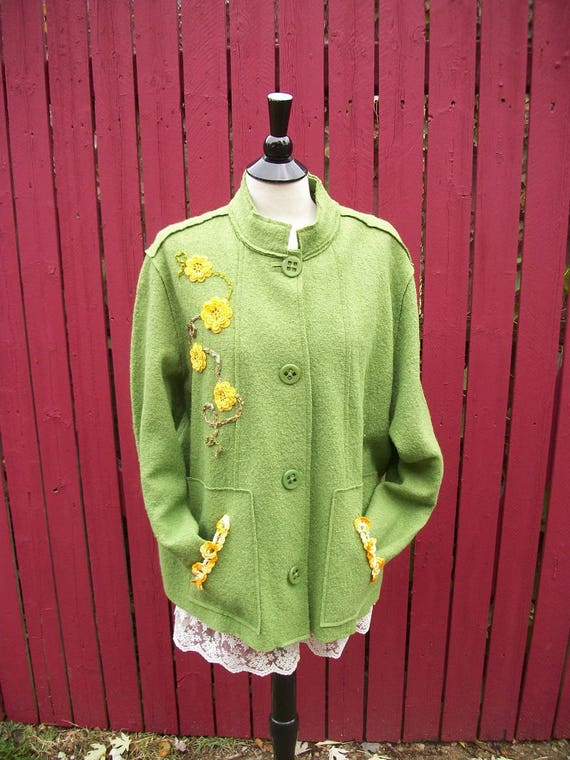 Fall Clothing Gypsy Yellow Altered Jacket Hand Plus 2X Stitched Flowers Green Altered Upcycled Size 5wxnFF