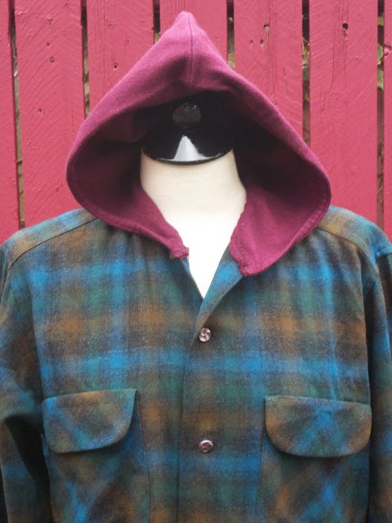 Jacket Hood Blue Upcycled Linen Plaid Gypsy Clothing Sweater Green with Embroidered Medium amp; Maroon Vintage qnqaHt0gR