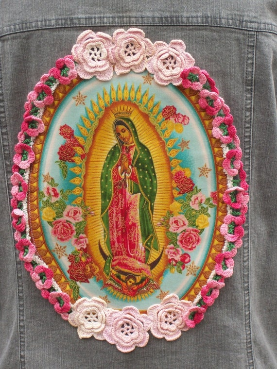 Flowers Size Vintage Pink of Gypsy Gray Guadalupe with Plus Clothing Clothing Denim Virgin 1XL Junk Festival Jacket 8wZqnY