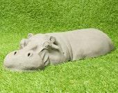Cute Handmade Resin Hippo Garden Decor, Stone Sculpture, Gardening Birthday Gift For Men