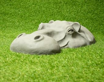 Hippo Head Outdoor Sculpture, Resin / Stone Ornaments, Garden Gifts