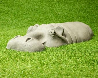 Hippo Garden Ornament, Garden Gifts for Him, Resin / Stone Yard Art
