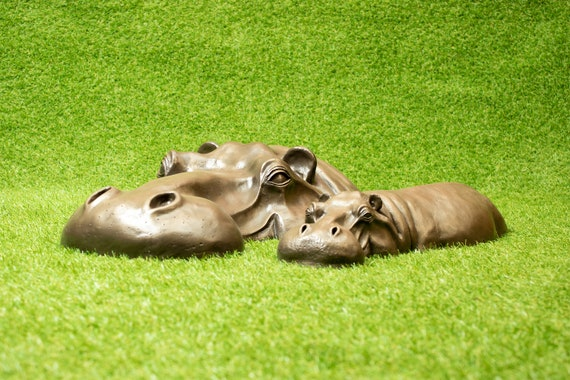 Copper Resin Hippo Garden Ornament Lawn Metal Yard Art Gardening Gift Grass