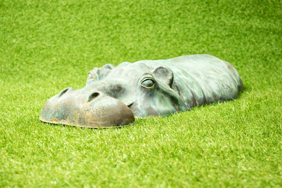 Lawn Ornament Christmas Gift Gardening Bronze Resin Hippo Garden Sculpture