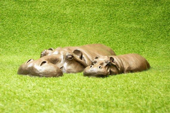 Stone Resin Hippo Hippopotamus Birthday Gift Lawn Sculpture Garden Ornament