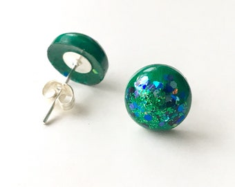Green & Blue Round Domed Resin Earring Studs with Sparkle Encapsulation and Sterling Silver shank butterfly