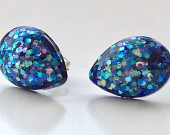 Teardrop Midnight Blue Domed Resin Earring Studs with Sparkle Encapsulation and Sterling Silver Shank & Butterfly