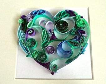 Aqua Love Quilled Paper Art on a Framed Chunky White Box Canvas