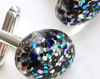 Oval Domed Resin Cuff Links with Black & Iridescent Glitter Encapsulation set on a Sterling Silver Bezel
