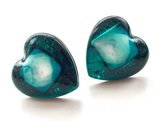Deep Sea Green Teal Domed Heart Resin Earring Studs with Sterling Silver shank & butterfly