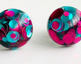 10mm round domed resin earring studs with turquoise blue & hot pink glitter encapsulation and hypoallergenic clear acrylic post + fastening