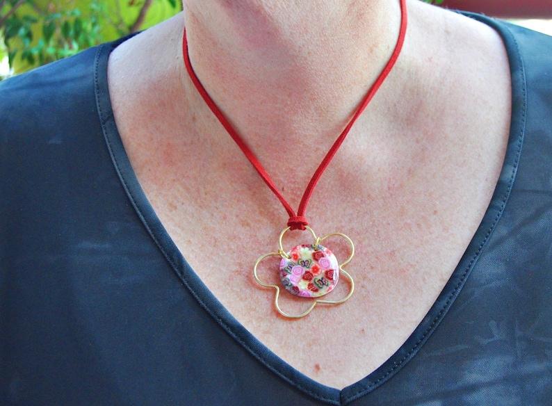 Flower pendant necklace Delicate necklace Sale!!Handmade necklace Colorful pendant, One of a kind pendant Pendant chain