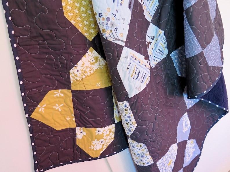 Lap quilt mustard blue modern home decor baby blanket play mat blue mustard