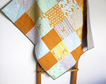 Baby quilt, foxes baby quilt, baby blanket, patchwork quilt, gender neutral, orange grey