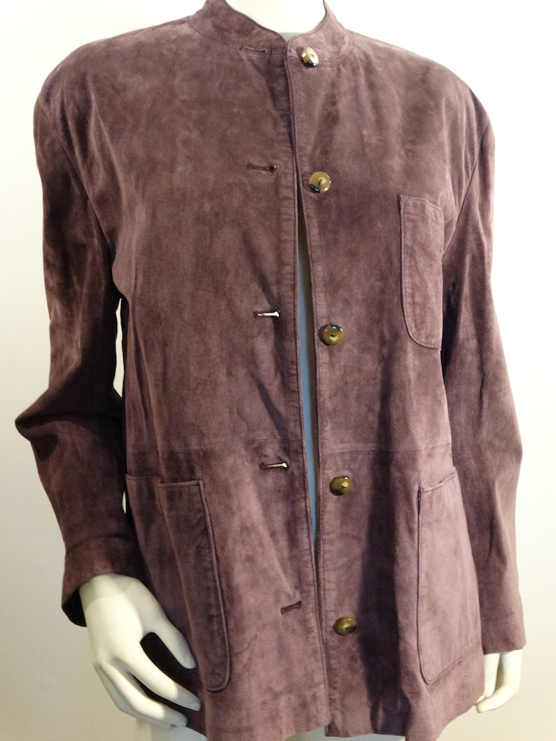 3f9acef00 Vintage Paradox Suede Leather Jacket Coat Women's 10 Purple Asian Collar  Lined