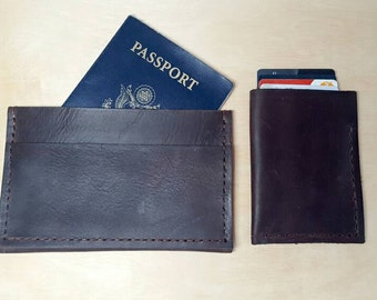 """Passport and Wallet Combo - """"The Traveler"""" - (Dark Brown Leather, Hand-stitched) - Leather Wallet"""