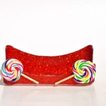 Lollipop glitter business card holder.  Candy store.  Candy Shop.  Sweet Shop.  Red Glitter.  Lollipops.  Candy.  Candies.