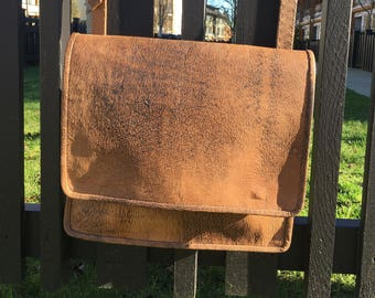 Distressed leather messenger bag - Men's Leather messenger, travel, tote bag, one of a kind, hand made
