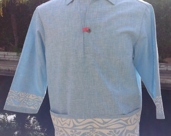 cca4affe8 Vintage IOLANI Registered Original Hawaiian Men's TIKI Blue Pullover Hawaii  Shirt 1960s