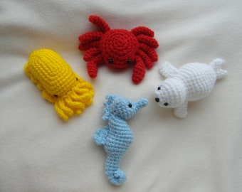 4 PATTERNS in 1: Crab and Company e-book - PDF instant download - crochet instructions
