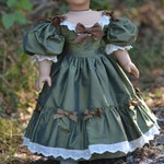 Doll Dress Fall Winter Christmas 1830s Silk Ball Gown for American Girl 18 inch doll