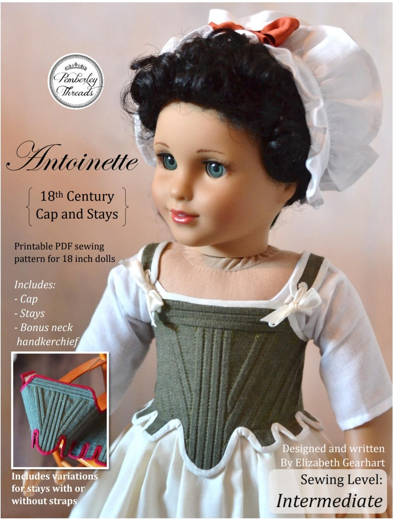 PDF Pattern Antoinette 18th Century Cap and Stays Corset for image 0