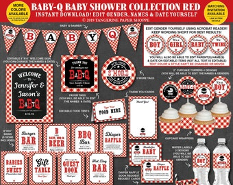 Baby Q Decorations, BBQ Baby Shower Decorations Package, Co-ed Baby Shower, Couples Baby Shower, Personalized Printable Instant Download