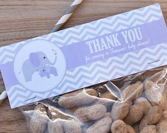 Elephant Baby Shower Treat Toppers - Elephant Girl Baby Shower - Elephant Baby Shower Favor Toppers - PERSONALIZED- Printable PDF File