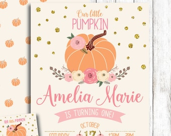 Pumpkin Birthday Invitation First Pink Gold Fall Printable PDF File