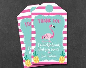 Flamingo Pineapple Favor Tag, Flamingo Thank You Tags, Personalized, Printable PDF File