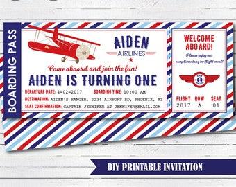 Airplane Party Invitation, Airplane Invitation, Vintage Airplane Birthday, Airplane Ticket Invitation, Printable PDF File