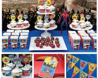 Superhero Birthday Decorations Party Printable PDF Files