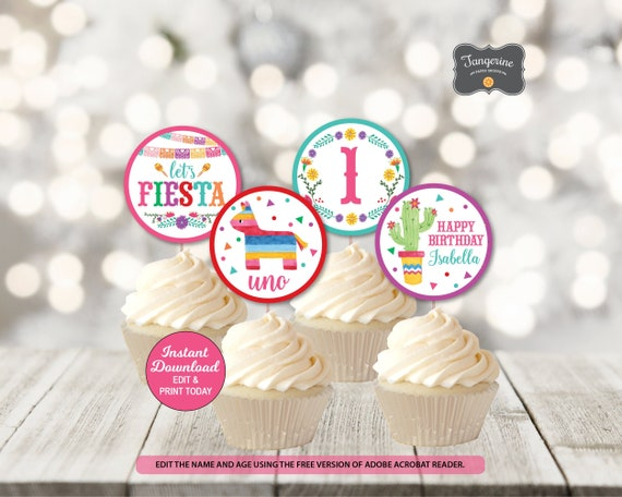 Fiesta Birthday Cupcake Toppers Fiesta Birthday Decorations First Birthday Birthday Fiesta Printable Pdf File Instant Download By Tangerine Paper Shoppe Catch My Party