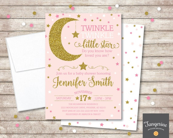 image regarding Free Printable Twinkle Twinkle Little Star Baby Shower Invitations referred to as Twinkle Twinkle Tiny Star Kid Shower Invitation, Red and Gold Glitter, Woman Little one Shower Invitation, Printable PDF Report