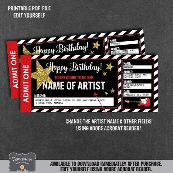 Concert ticket Surprise gift Ticket Template Gift Voucher Music lover