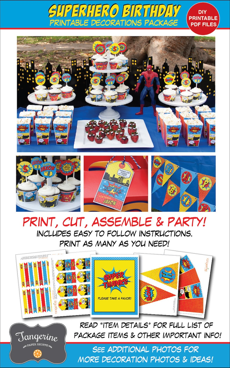 Superhero Birthday Decorations, Superhero Party Decorations, Printable PDF  Files