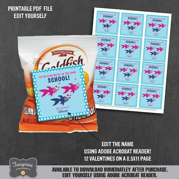 image regarding Goldfish Valentine Printable named Goldfish Valentines, Small children Valentines University, Newborn