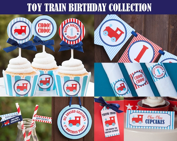 Train Party Decorations Printable Personalized DIY PDF Files