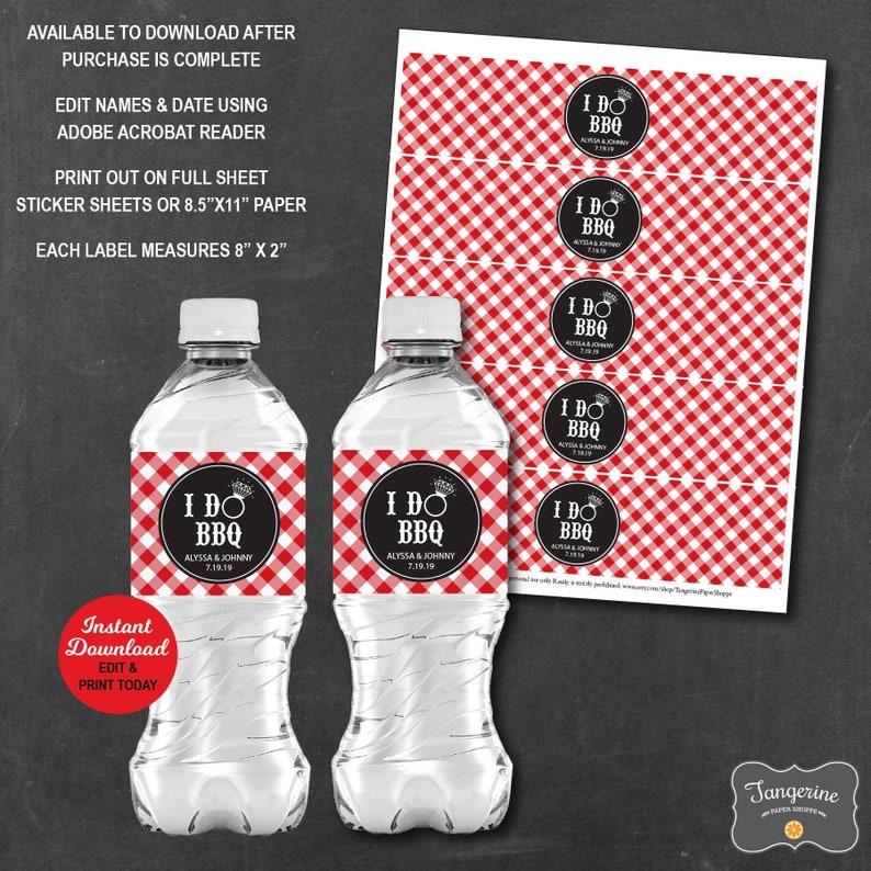 I Do Bbq Water Labels Personalized, I Do Bbq Drink Labels, Bbq Wedding  Shower Water Labels, Printable Pdf File INSTANT DOWNLOAD