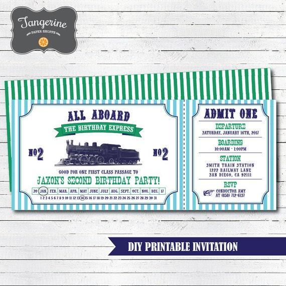 Train Birthday Invitation Printable Vintage Ticket
