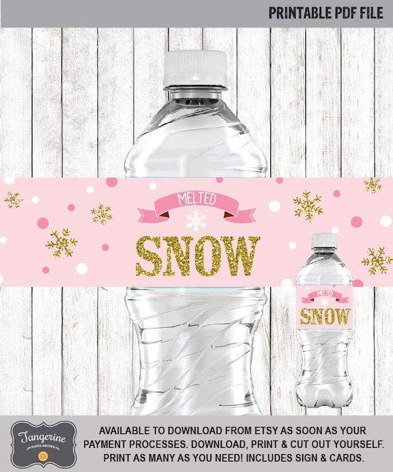 Winter Onederland Birthday Water Labels, Pink Gold, Girl